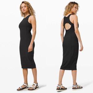 LULULEMON Brunch and Back Black Midi Dress
